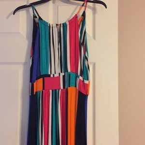 Multicolored long halter dress
